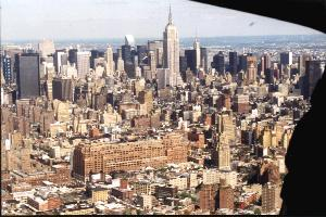empire state building from helicopter