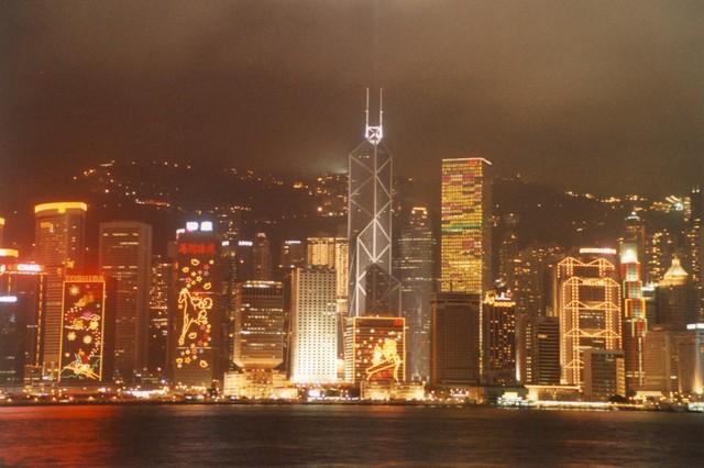 Skyline am Hafen mit Bank of China
